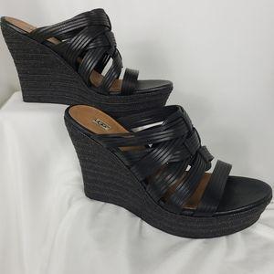 Ugg Melinda Black Platform Espadrille Wedge Sandal